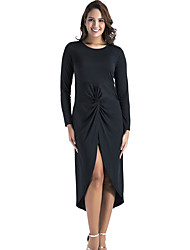 cheap -Women's Going out Bodycon / Sheath Dress - Solid Color Cut Out / Ruched High Waist Asymmetrical