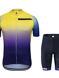 cheap -Cycling Jersey with Shorts Unisex Short Sleeves Bike Clothing Suits Bike Wear Quick Dry Geometric Cycling / Bike Blue+Yellow