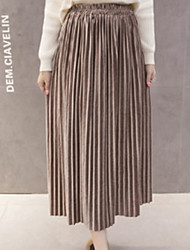 cheap -Women's Daily Midi Skirts,Casual Swing Linen Print Fall/Autumn