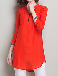 cheap -Women's Casual Shirt - Solid Colored V Neck / Fall