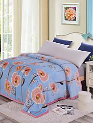Недорогие -Супер мягкий, С принтом Цветочный принт Полиэстер одеяла