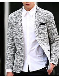 cheap -Men's Daily Casual Fall Blazer,Houndstooth V Neck Long Sleeve Regular Cotton Oversized