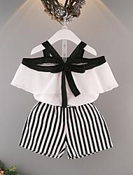 Недорогие -Девочки Набор одежды Хлопок Клетки Лето Белый