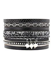 billige -Dame Geometrisk Wrap Armbånd - Perle, Læder Vintage, Bohemisk, Boheme Armbånd Sort Til Daglig I-byen-tøj