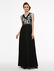 cheap -A-Line Princess V Neck Floor Length Chiffon Corded Lace Mother of the Bride Dress with Appliques Lace Pleats by LAN TING BRIDE®