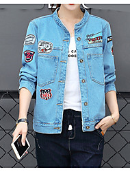cheap -Women's Denim Jacket - Print Shirt Collar
