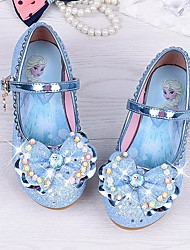 cheap -Girls' Shoes Sparkling Glitter Leatherette Spring Fall Comfort Flower Girl Shoes Tiny Heels for Teens Heels for Casual Light Blue Pink