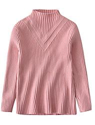 preiswerte -Mädchen Pullover & Cardigan Solide Acryl Ganzjährig Langärmelige Retro Schwarz Rote Rosa Grau Gelb