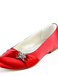preiswerte -Damen Schuhe Seide Frühling Sommer Ballerina Hochzeit Schuhe Flacher Absatz Geschlossene Spitze Strass für Hochzeit Party & Festivität Rot