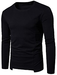 cheap -Men's Cotton / Polyester T-shirt - Solid Colored Round Neck / Please choose one size larger according to your normal size. / Long Sleeve
