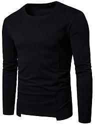 abordables -Hombre Casual Diario Primavera Otoño Camiseta,Escote Redondo Un Color Mangas largas Algodón Poliéster Fino