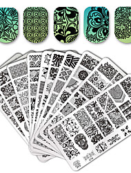 cheap -10/20pcs Stamping Plate Nail Stamping Template Nail Art Design Nail Polish Lace