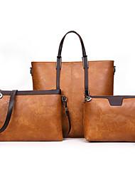 preiswerte -Damen Taschen PU Bag Set 3 Stück Geldbörse Set Reißverschluss für Normal Büro & Karriere Ganzjährig Schwarz Rote Rosa Grau Braun