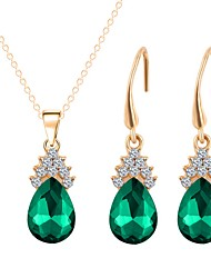 baratos -Mulheres Conjunto de jóias - Chapeado Dourado Doce, Fashion Incluir Colar Verde Para Casamento Diário