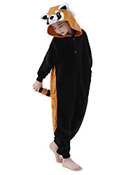 cheap -Kigurumi Pajamas Raccoon Onesie Pajamas Costume Polar Fleece Black Cosplay For Kid's Animal Sleepwear Cartoon Halloween Festival / Holiday