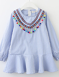 cheap -Girl's Daily Striped Dress, Cotton Spring Fall Long Sleeves Casual Blue