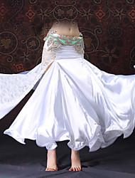 economico -Danza del ventre Pantaloni Per donna Esibizione Di pizzo Raso Drappeggio Di pizzo Con spacco Senza maniche Cadente Gonne