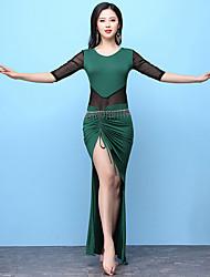 abordables -Danse du ventre Tenue Femme Entraînement Modal Fendue Demi Manches Taille haute Robe Short