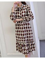 baratos -Mulheres Reto Vestido - Estampado, Geométrica Médio