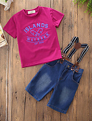 billige -Drenge Tøjsæt Fest Daglig Ensfarvet Trykt mønster, Bomuld Polyester Sommer Kortærmet Simple Afslappet Rosa