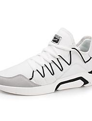 baratos -Homens sapatos Tule Primavera Outono Conforto Tênis Caminhada para Atlético Branco Preto
