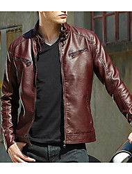 cheap -Men's Street chic Leather Jacket-Solid Colored Stand