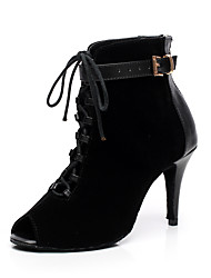 cheap -Women's Dance Boots Flocking Boots Trim Stiletto Heel Customizable Dance Shoes Black / Dark Purple / Indoor