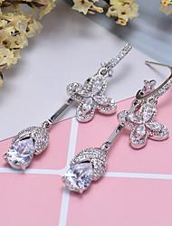cheap -Women's Stud Earrings Hoop Earrings Rhinestone Rhinestone Silver Plated Jewelry Silver Wedding Party Costume Jewelry
