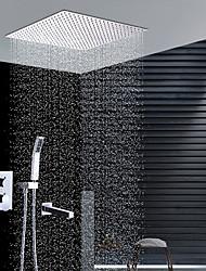 Moderní Instalace na zeď Dešťová sprcha Včetne sprchové hlavice Keramický ventil Dvěma uchy čtyři otvory Pochromovaný , Sprchová baterie