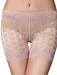 cheap -Women's Stretchy Solid Jacquard Print Shorties & Boyshorts Panties Thin,Polyester Nylon 1pc Khaki Black White