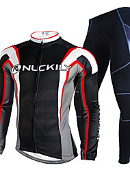 cheap -Nuckily Men's Long Sleeves Cycling Jersey with Tights - Black Geometic Bike Clothing Suits, Waterproof, Thermal / Warm, Reflective Strips