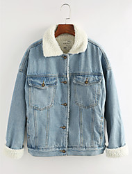 cheap -Women's Going out Cotton Denim Jacket - Solid Colored Shirt Collar