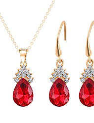 cheap -Women's Gold Plated Jewelry Set 1 Necklace / Earrings - Simple / Fashion Red Jewelry Set / Pendant Necklace For Wedding / Daily