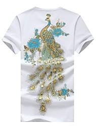 cheap -Men's Chinoiserie Cotton T-shirt Print Round Neck