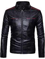 cheap -Men's Punk & Gothic Faux Leather Jacket-Solid Colored