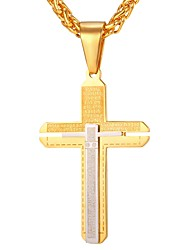 Недорогие -Муж. Крест Классика На каждый день Хип-хоп Ожерелья с подвесками , Нержавеющая сталь Ожерелья с подвесками , Повседневные Карнавал