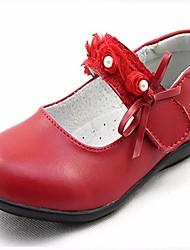 abordables -Fille Chaussures Cuir Printemps Automne Chaussures de Demoiselle d'Honneur Fille Confort Ballerines pour Décontracté Noir Pêche Rouge