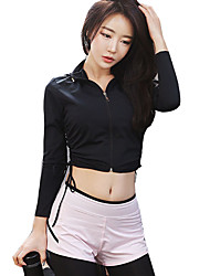 cheap -Women's Hoodie & Sweatshirt Long Sleeves Quick Dry Breathability Super Slim Top for Cheerleader Costumes Running Nylon Black Yellow Royal