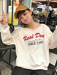 女性用 日常 スウェットシャツ プリント ラウンドネック マイクロエラスティック コットン 長袖 冬