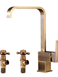 Недорогие -Античный По центру Широко распространенный Керамический клапан Одной ручкой одно отверстие Античная медь, Ванная раковина кран