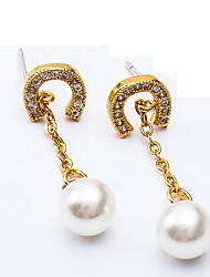 cheap -Women's Drop Earrings Cubic Zirconia Imitation Pearl Tassel Korean Alloy Drop C Shape Jewelry Party Gift Daily Evening Party