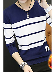 cheap -Men's Casual Street chic Long Sleeves Pullover - Striped V Neck