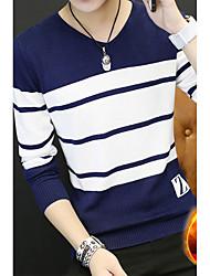 preiswerte -Herrn Gestreift Alltag Ausgehen Freizeit Street Schick Pullover Pullover Langarm V-Ausschnitt Frühling Baumwolle