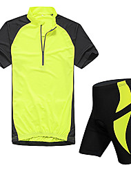 cheap -KORAMAN Men's Short Sleeves Cycling Jersey with Shorts - Red Green Blue Bike Padded Shorts/Chamois Tights Jersey Clothing Suits, Quick