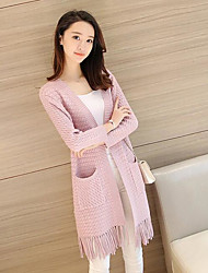 cheap -Women's Long Sleeves Long Cardigan - Solid