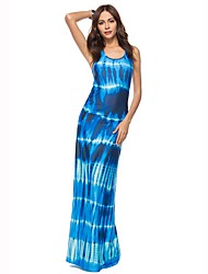 cheap -Women's Beach Boho Sheath Dress - Print / Color Block Blue, Racerback Maxi U Neck