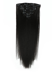 cheap -100% Chinese Hair Clip In Virgin Remy Human Hair Extensions #1B