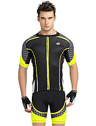 cheap -Nuckily Men's Short Sleeves Cycling Jersey with Shorts - Yellow Geometic Bike Shorts Jersey Clothing Suits, Ultraviolet Resistant,
