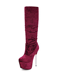 cheap -Women's Shoes Velvet Winter Fall Fashion Boots Boots Stiletto Heel Round Toe Knee High Boots Mid-Calf Boots Side-Draped for Wedding Party