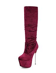 Недорогие -Жен. Обувь Бархат Зима Осень Модная обувь Ботинки На шпильке Круглый носок Сапоги до колена Сапоги до середины икры Оборки сбоку для
